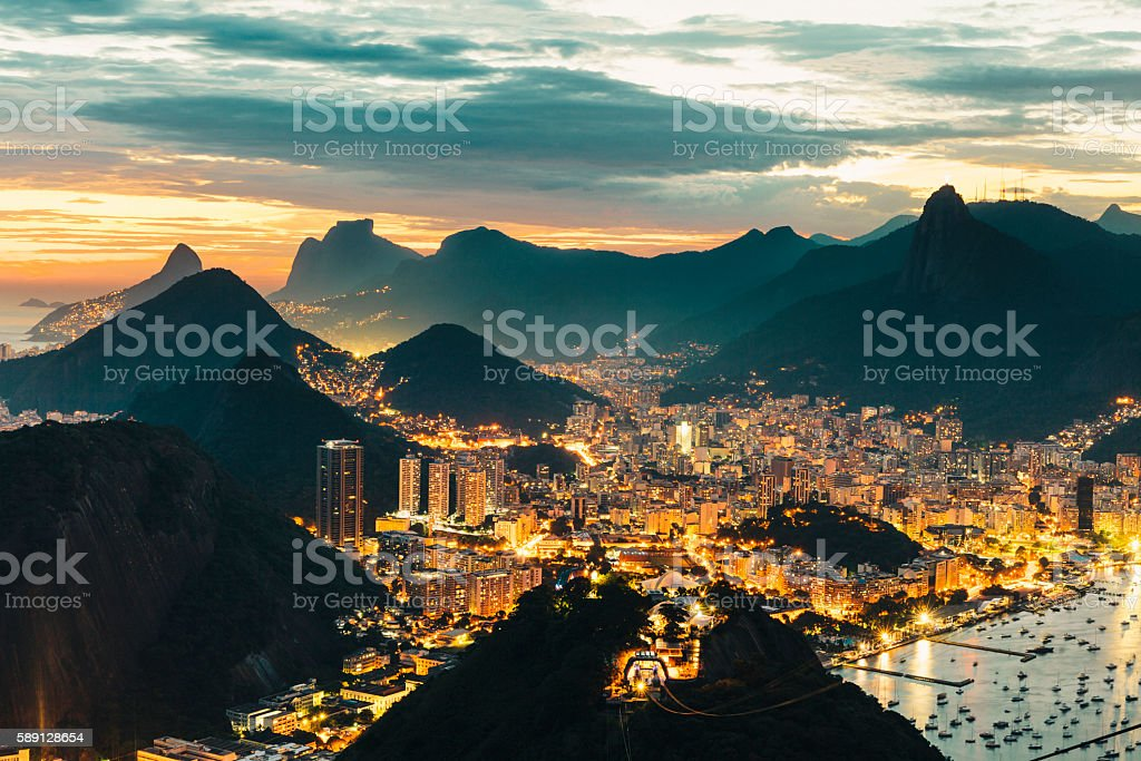 View of Rio de Janeiro from Sugarloaf Mountain at night stock photo