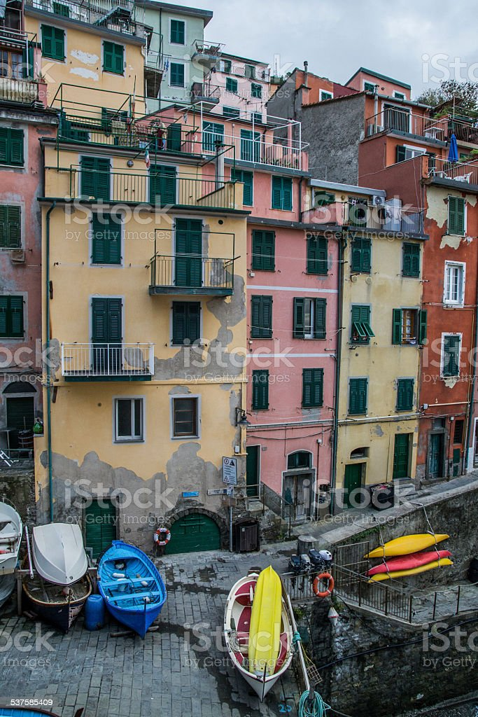 View of Riomaggiore in Cinque Terre Italy stock photo