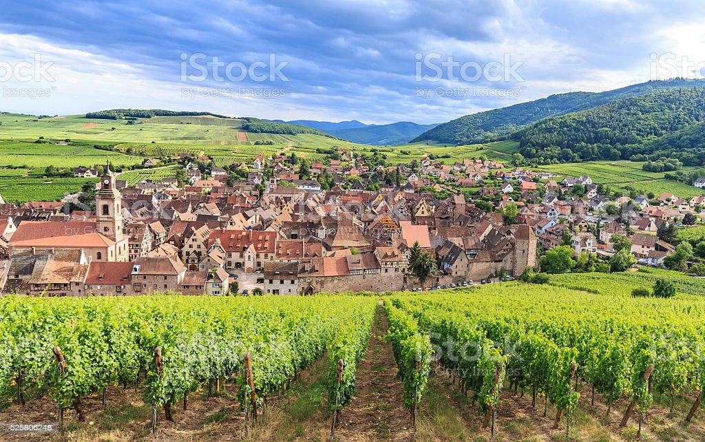 View of Riquewihr village in Alsace stock photo
