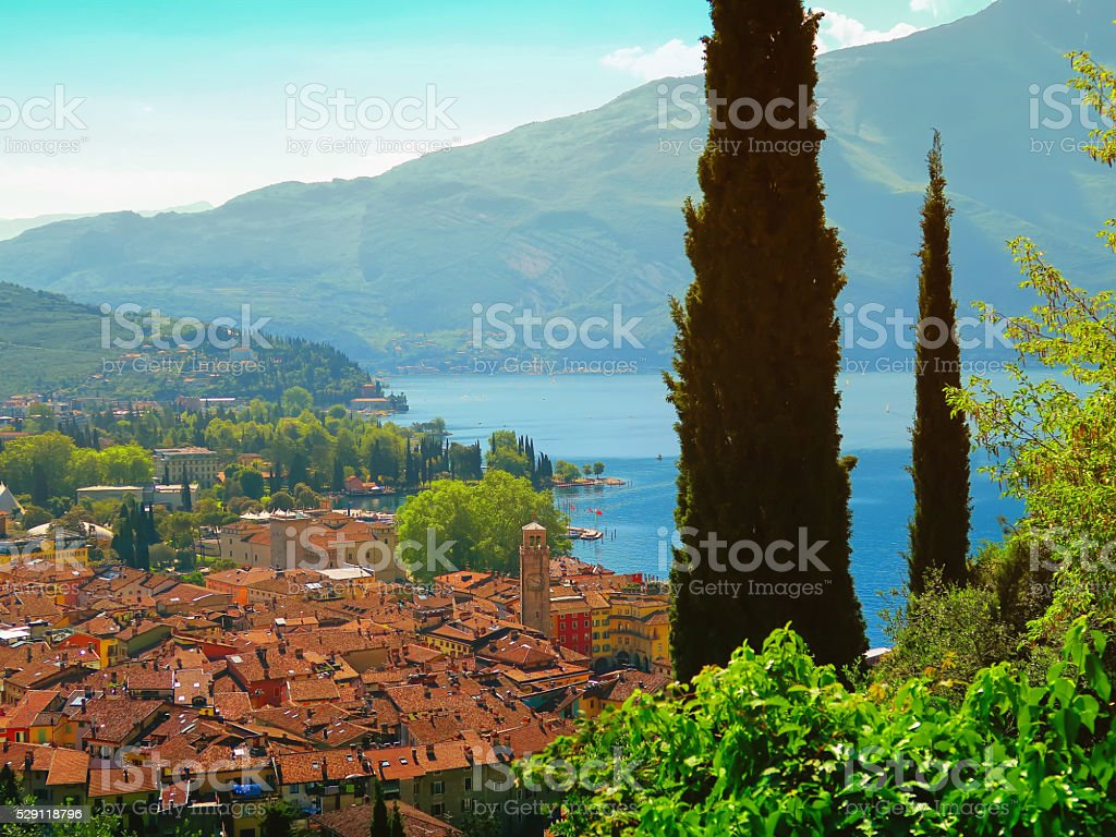 View of Riva del Garda on Lake Garda, Italy stock photo