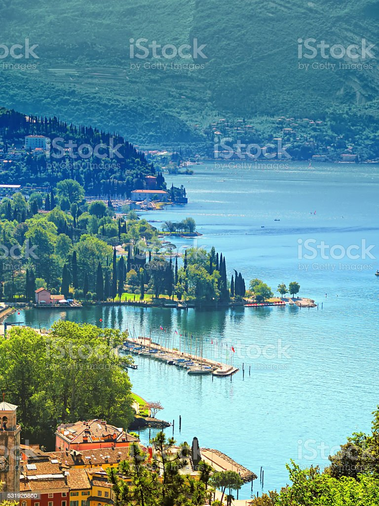 View of Riva del Garda, Trentino, Italy stock photo
