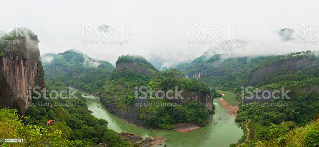 view of river and mountains stock photo