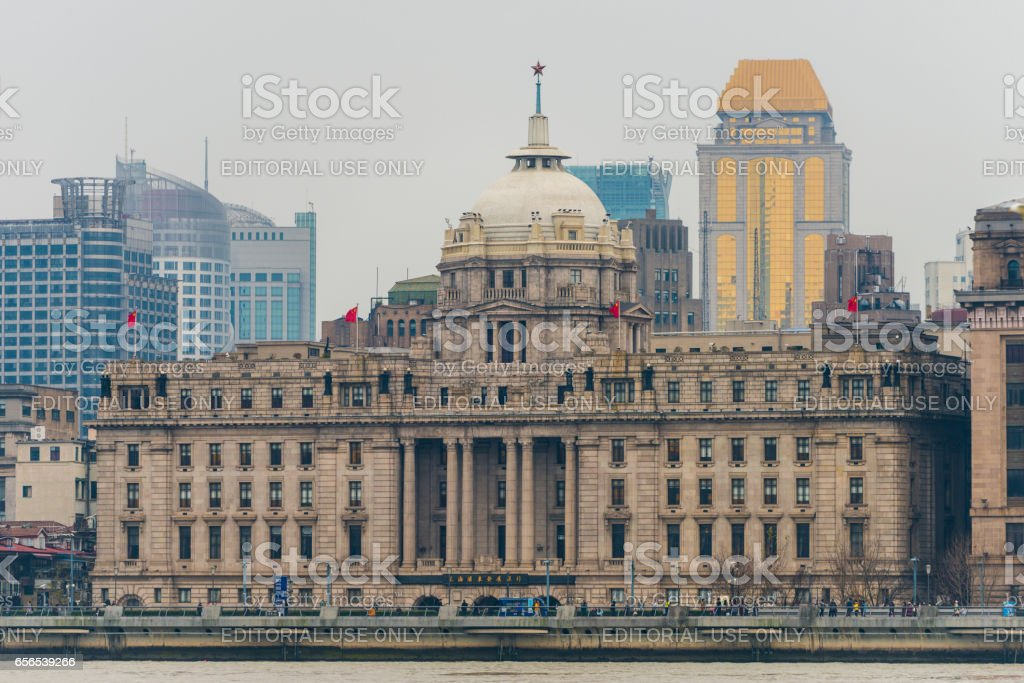View of River Boats on the Huangpu River and as Background the Skyline of the Northern Part of Puxi stock photo