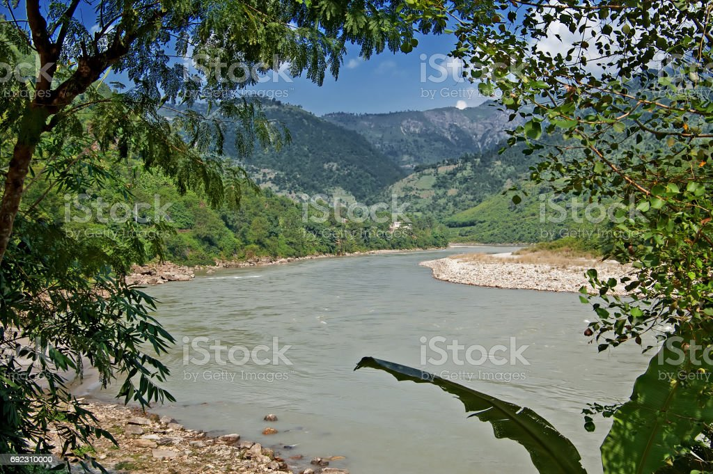 View of river in Nepal stock photo