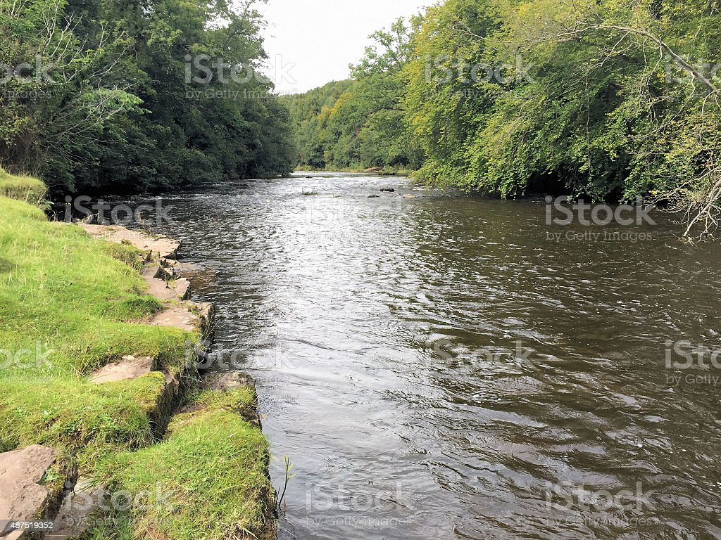 View of River Usk in Llangynidr stock photo