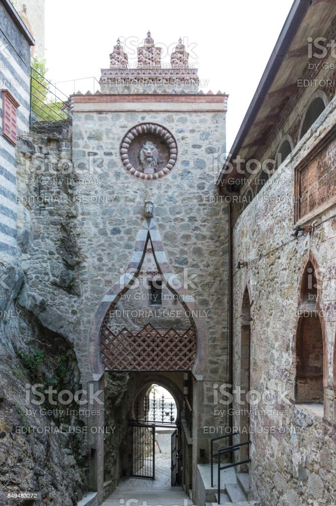 View of Rocchetta Mattei castle. It was the house of Conte Cesare Mattei and it was built in the XIX century. stock photo