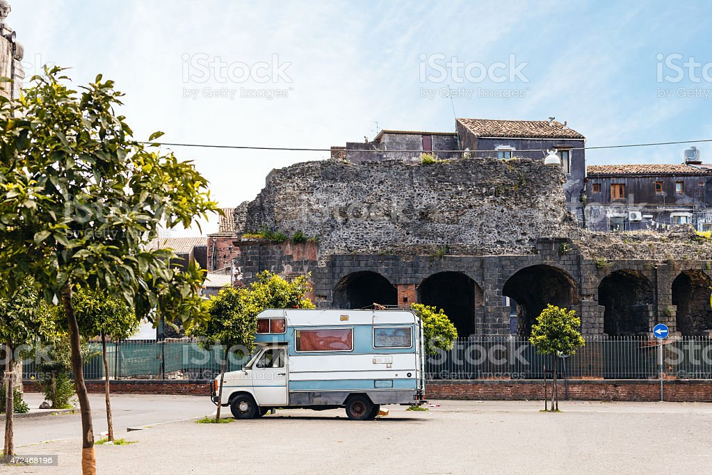 view of Roman Odeon in Catania stock photo