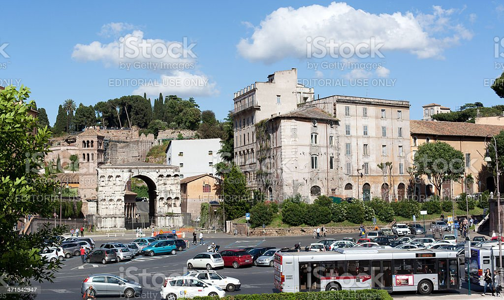 View of Rome: Arco di Giano and Palazzo Velabro royalty-free stock photo