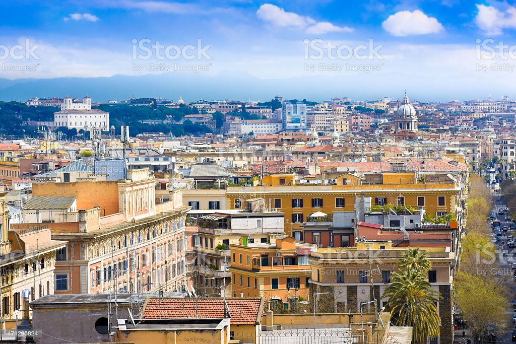 View of Rome cityscape before rain, Italy stock photo
