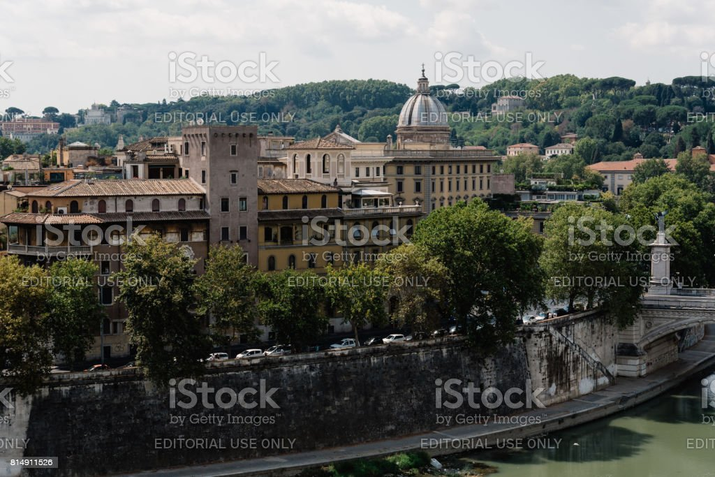 View of Rome from Castel Sant Angelo stock photo