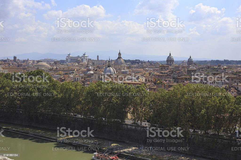 View of Rome from Castel Sant'Angelo, Italy. stock photo