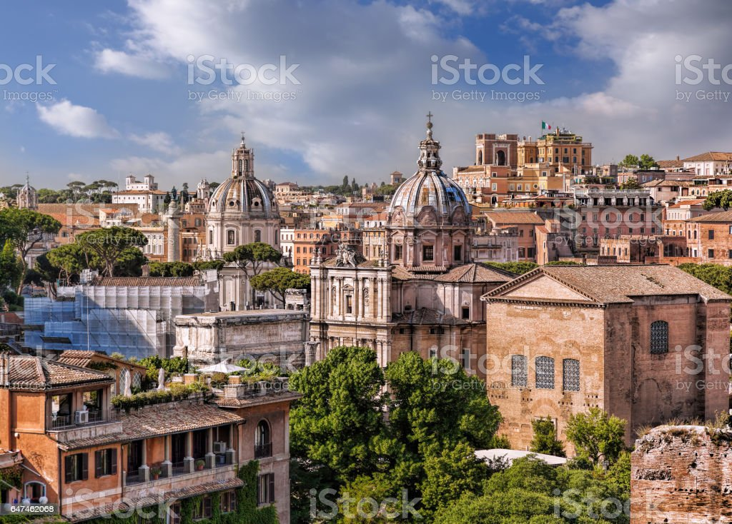 View of Rome from Roman Forum in Italy stock photo