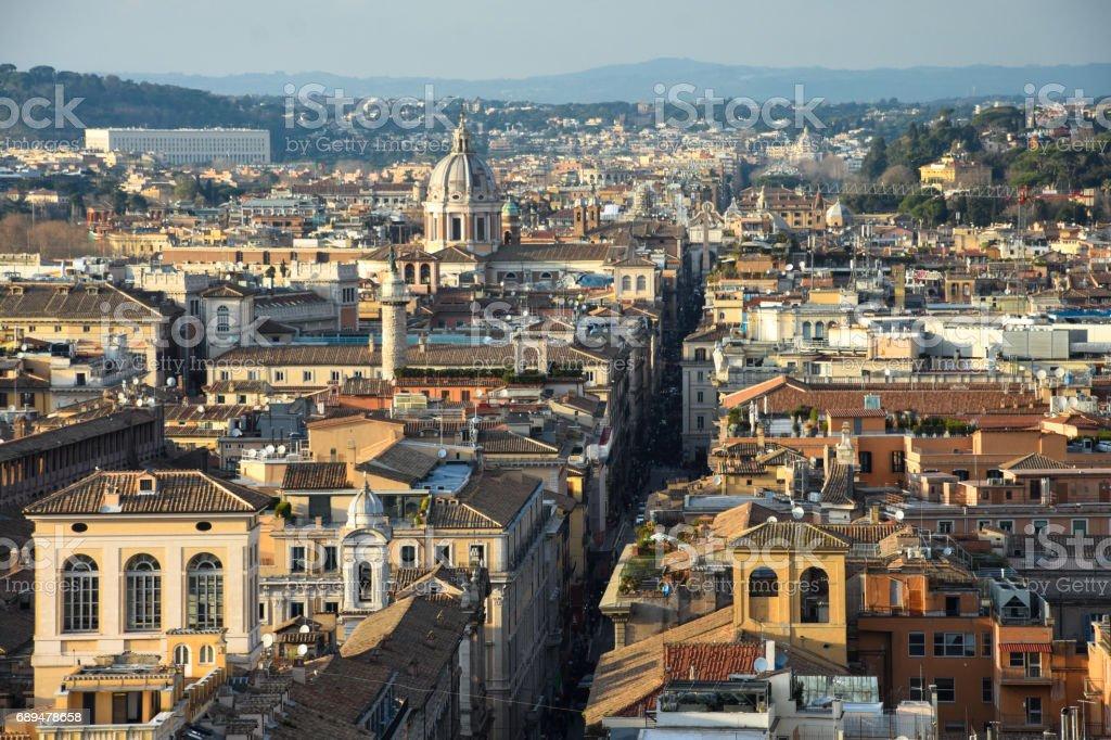 View of Rome from The Altar of the Fatherland (Altare della Patria). stock photo