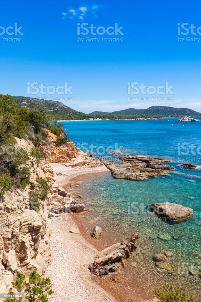 view of Rondinara beach in Corsica Island in France stock photo