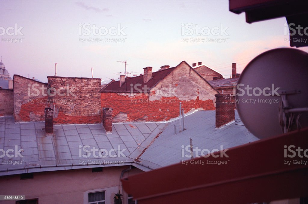 View of roof in the Lviv city. stock photo