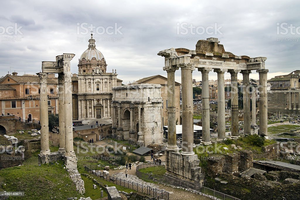 View of ruins in Roman Forum, Rome, Italy royalty-free stock photo