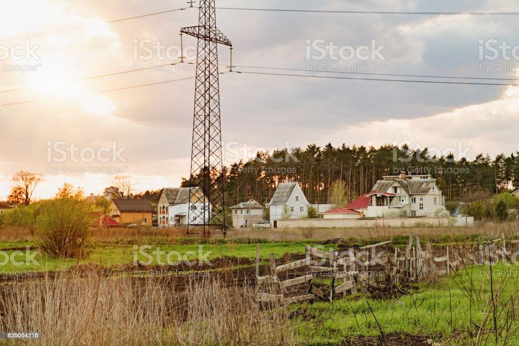 View of rural Ukrainian landscape at sunset stock photo