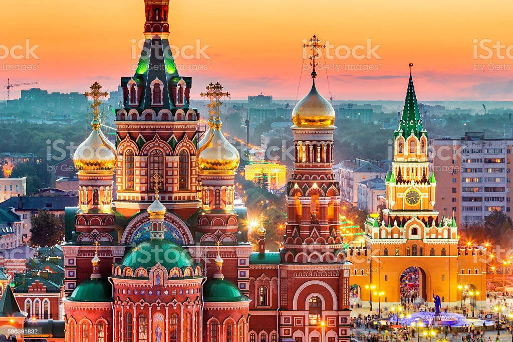 View of Russian City at Sunset stock photo
