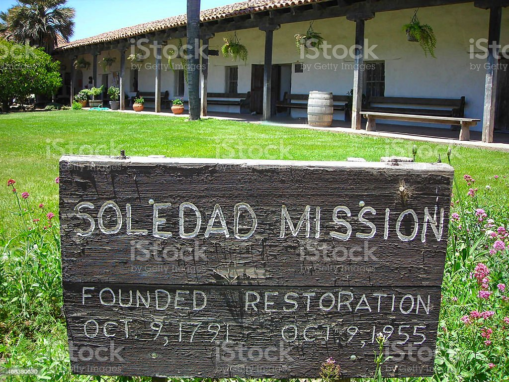 View of Rustic Historic Sign and Veranda Soldedad Mission California stock photo