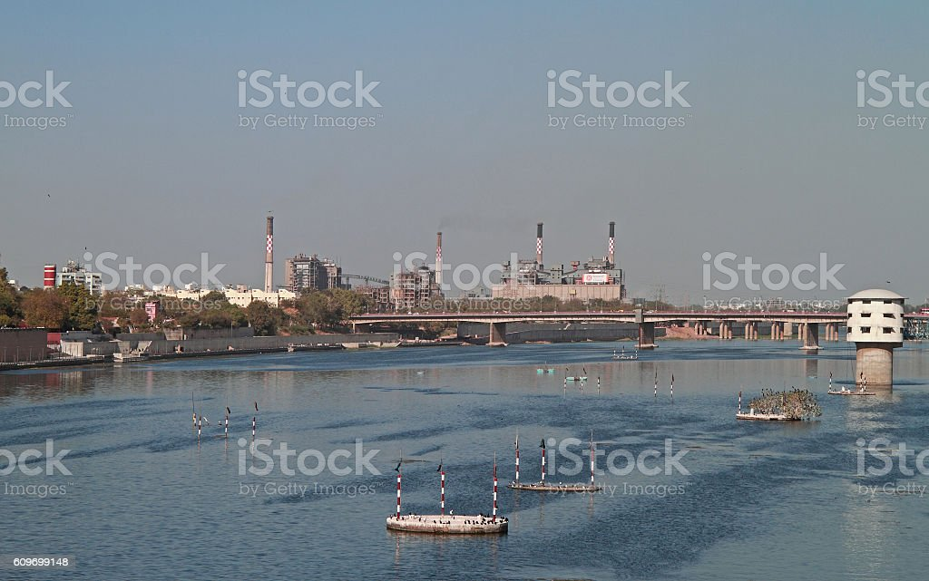 View of Sabarmati Riverfront in Ahmedabad stock photo