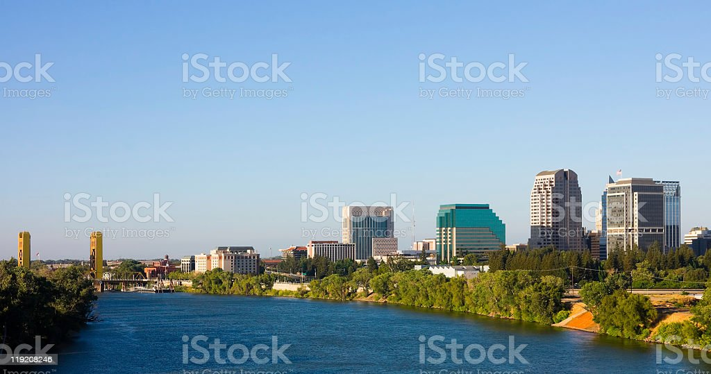 View of Sacramento California from the river stock photo