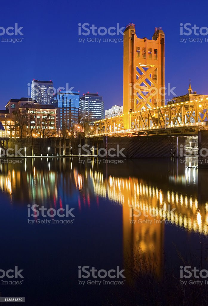 View of Sacramento in California at night stock photo