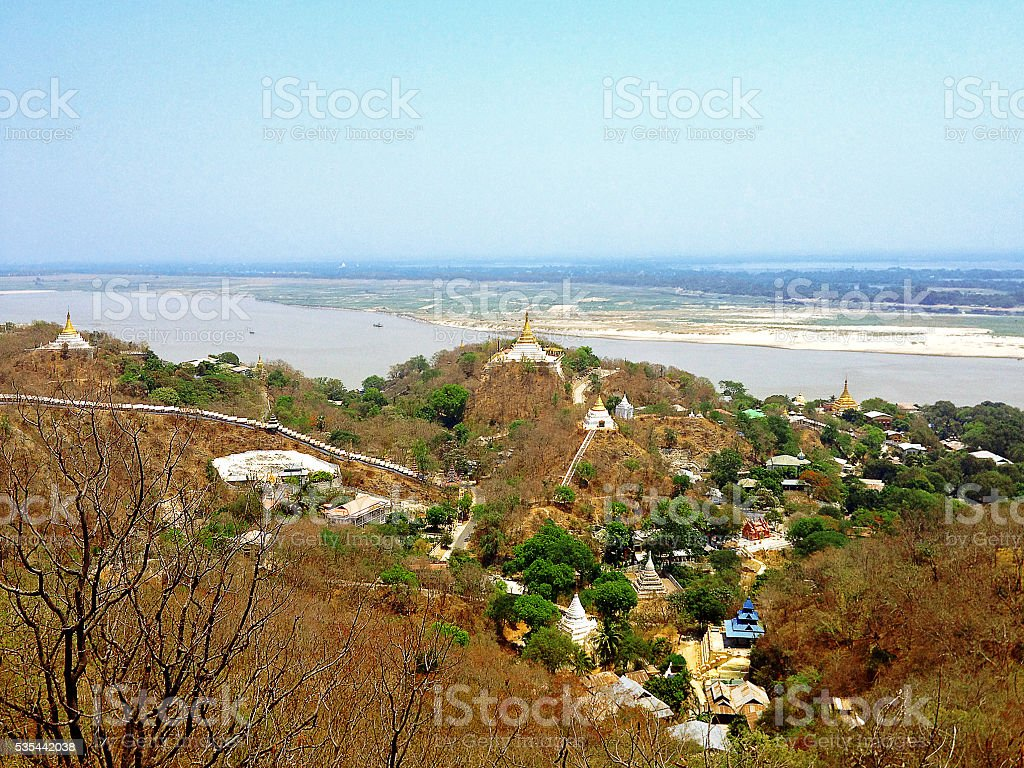 view of Sagaing hill stock photo