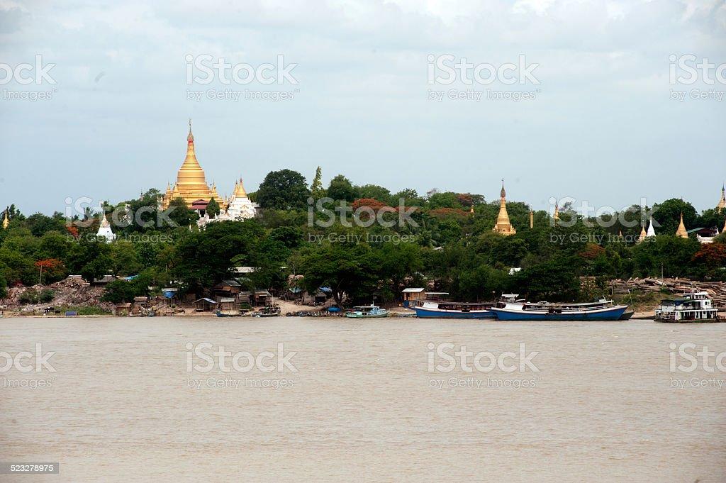 View of Sagaing hill,Myanmar. stock photo