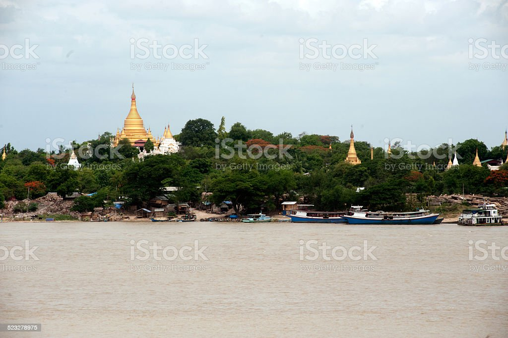 View of Sagaing hill,Myanmar. stock photo