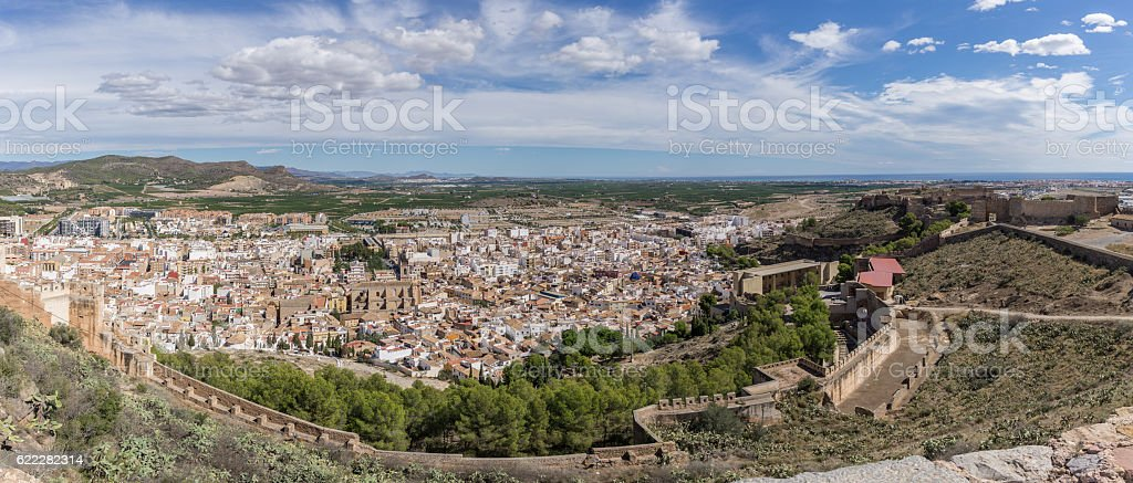 View of Sagunto from the fortification stock photo