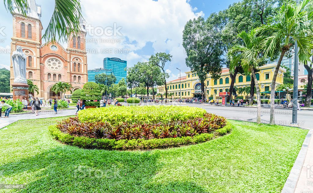 View of Saigon Notre Dame Cathedral and Central Post Office stock photo