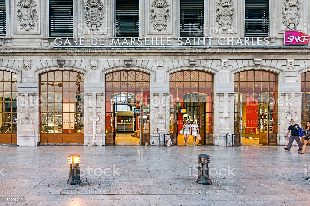 View of Saint Charles train station in Marseilles stock photo