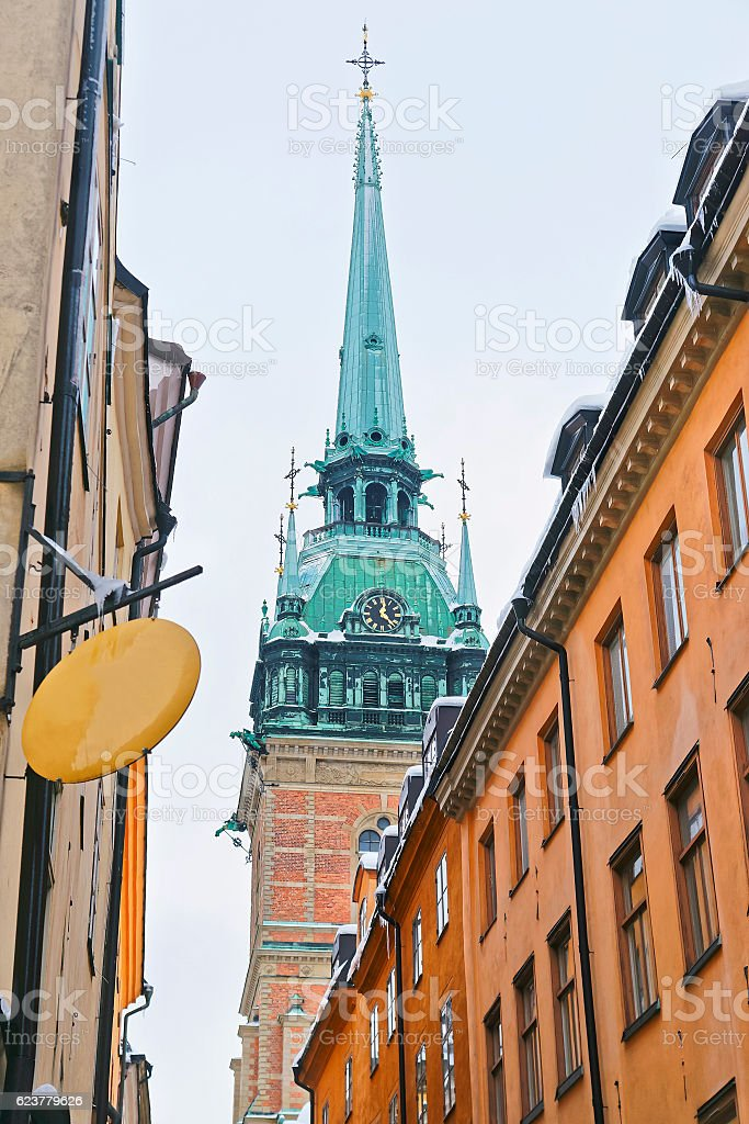 View of Saint Clare Church in Gamla Stan of Stockholm stock photo