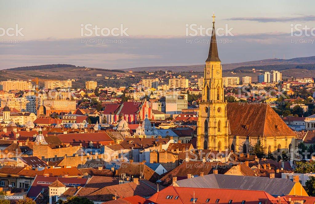 View of Saint Michael's Church in Cluj-Napoca, Romania stock photo