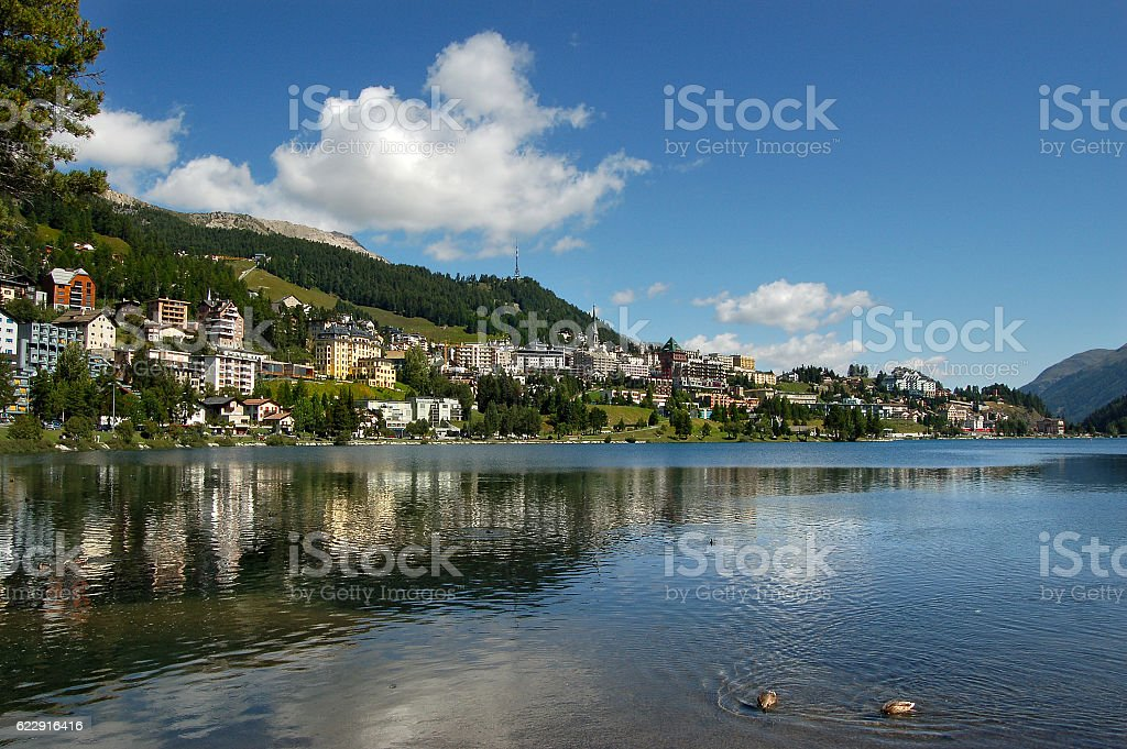View of Saint Moritz - Engadin Switzerland stock photo