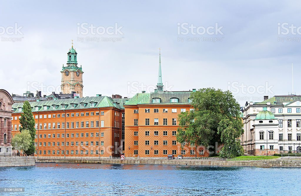 View of Saint Nicholas Bell Tower, Stockholm, Sweden stock photo