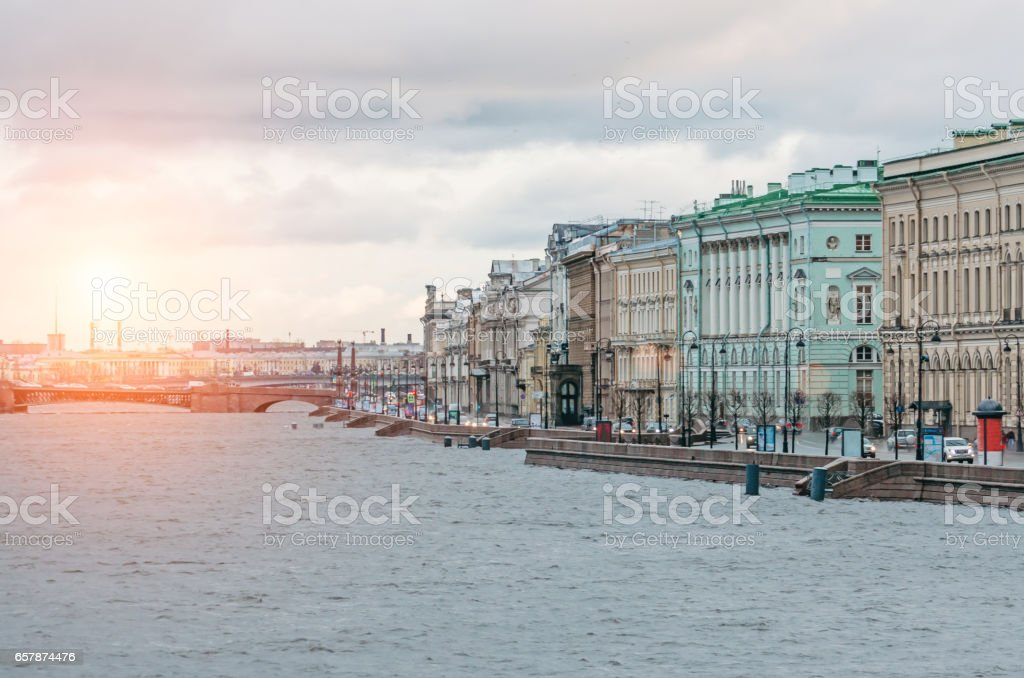 View of Saint Petersburg dawn and flood on the Neva River stock photo