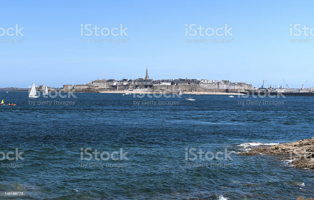 View of Saint-Malo from the Dinard stock photo