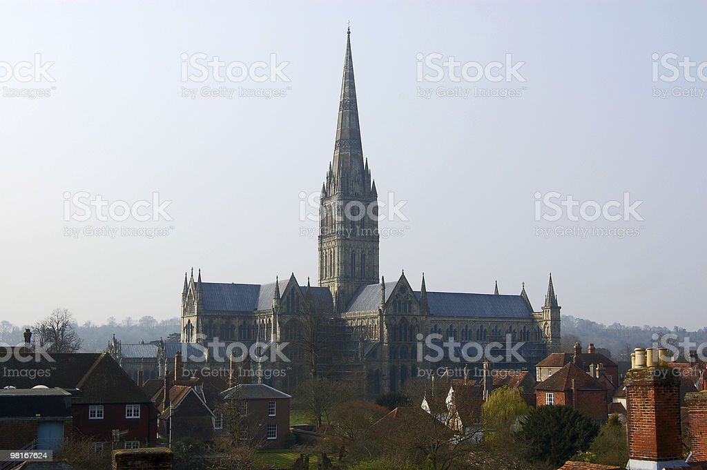 View of Salisbury Cathedral stock photo