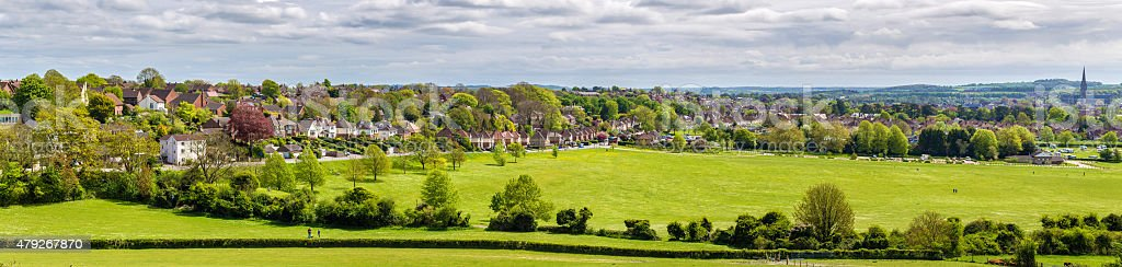 View of Salisbury from Old Sarum - England stock photo