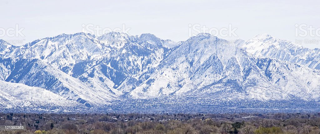 View of Salt Lake City and Wasatch Mountains stock photo