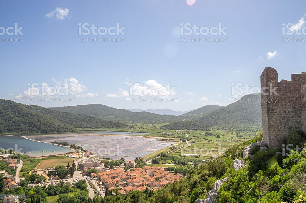 View of Salt Pans in Ston stock photo