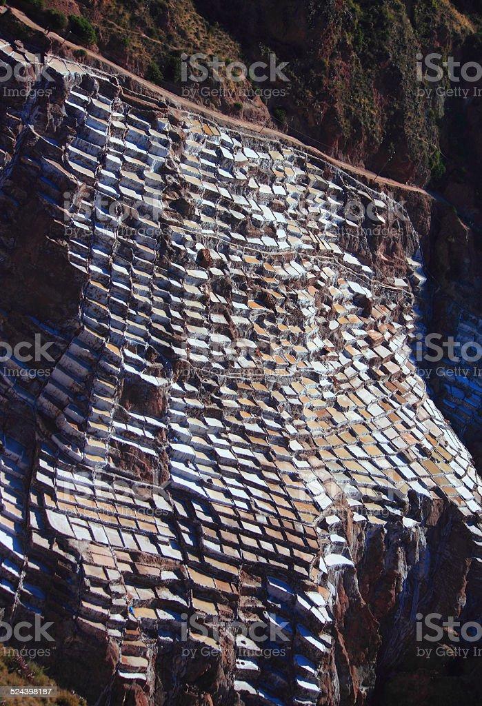 View of Salt ponds, Maras, Cuzco stock photo