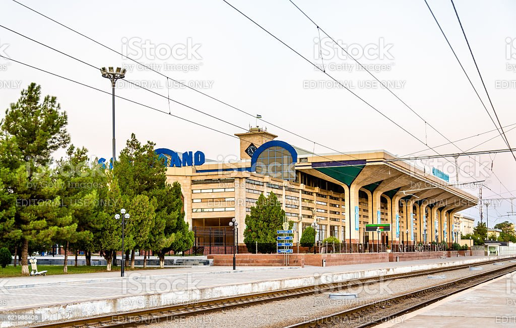 View of Samarkand Railway Station. stock photo