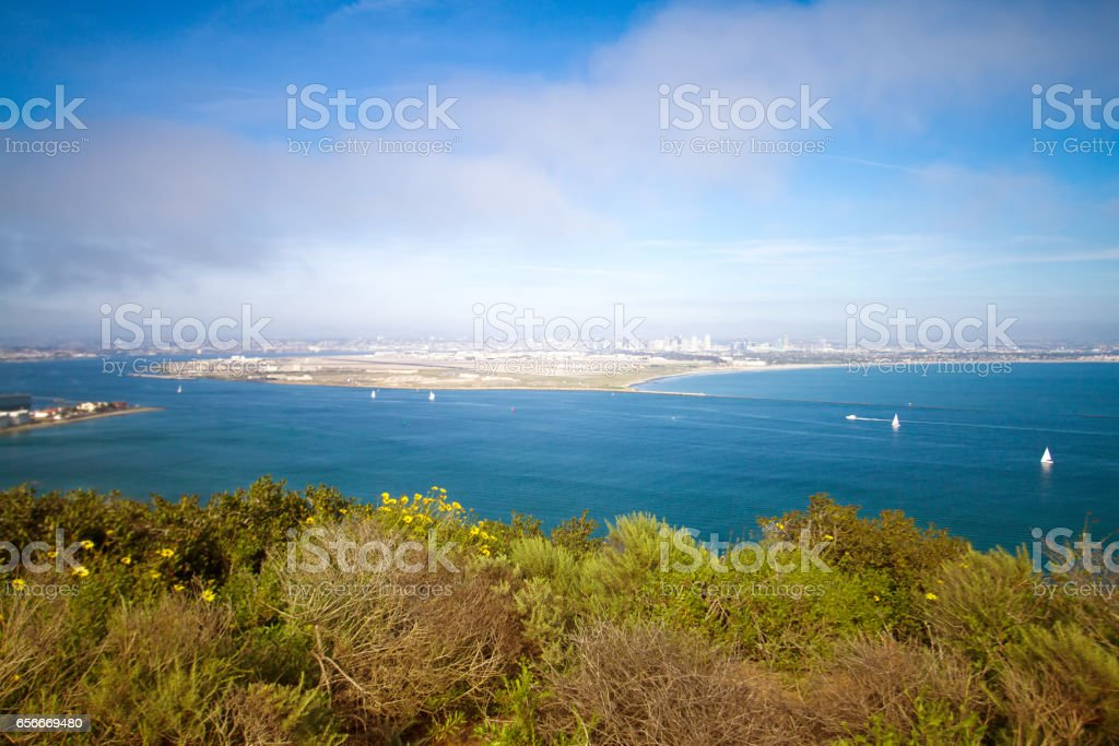 View of San Diego Bay from Point Loma stock photo