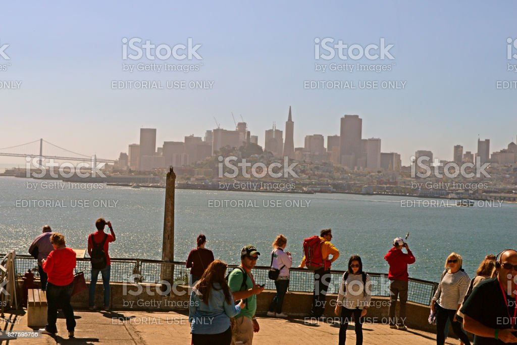 View of San Francisco Skyline from The Alcatraz Island stock photo