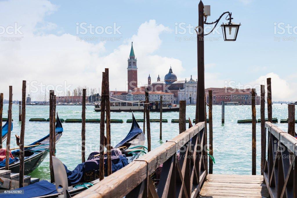 view of San Giorgio Maggiore from pier in Venice stock photo
