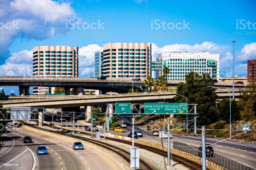 View of San Jose skyline with freeways and clouds stock photo