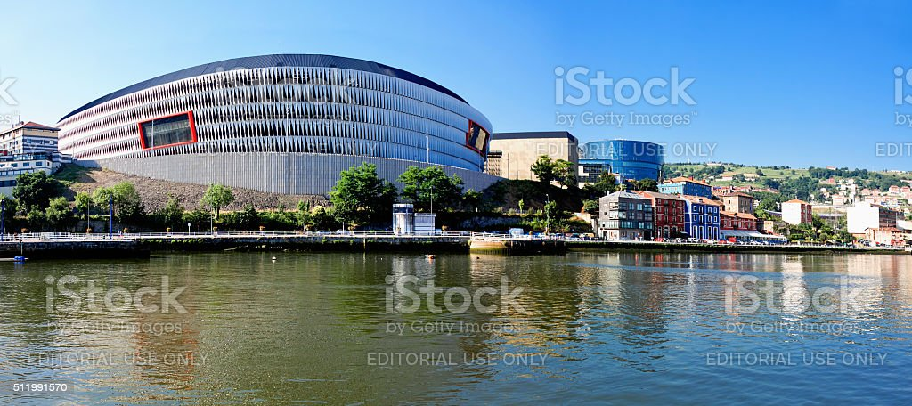 View of San Mames football stadium and Nervion river stock photo