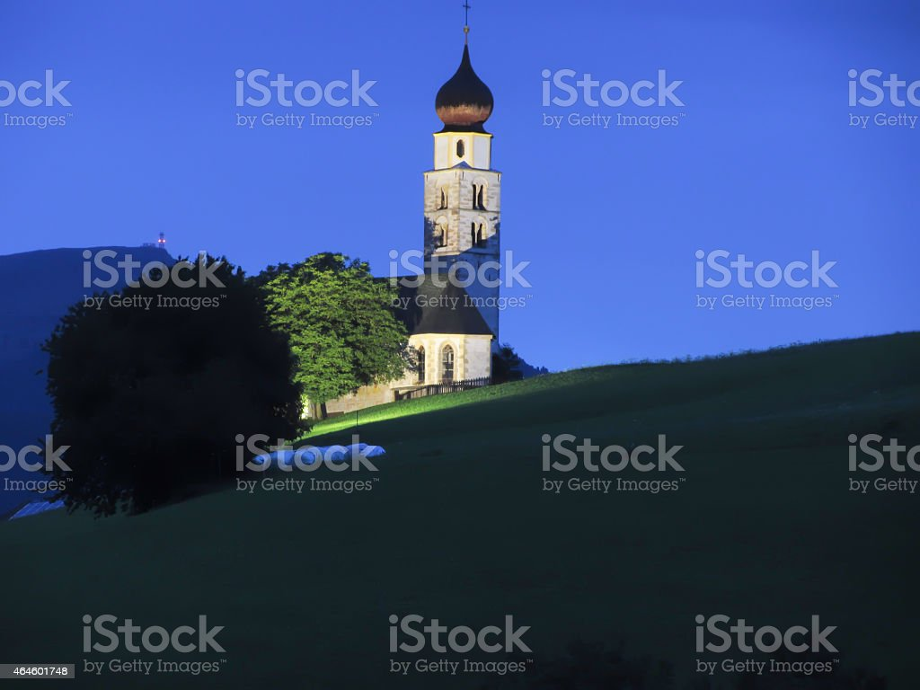View of San Valentino church by night stock photo